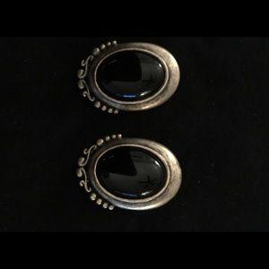 Brushed Gold/Black Stone Pierced Earrings